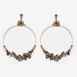 gemstone hoops earring chorange Lapis lazuli, dalmatian jasper, turquoise, corail, turquoise
