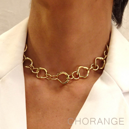 Chorange gold plated necklace, french designer of fashion jewellery made in France
