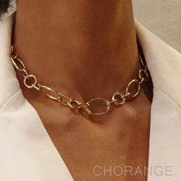 collier chaine plaque or Chorange createur de bijoux