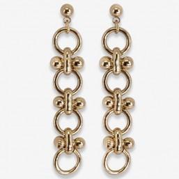Chorange boucle d'oreille chaine métal doré tendance