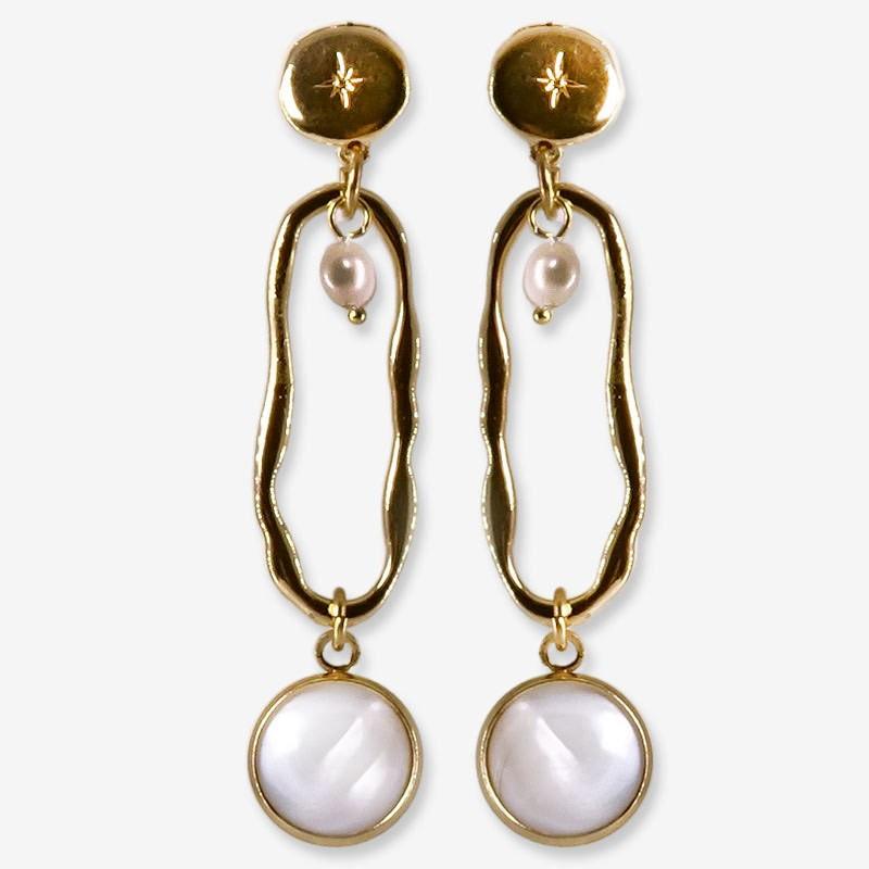 boucle pendante Chorange- nacre et métal or chorange