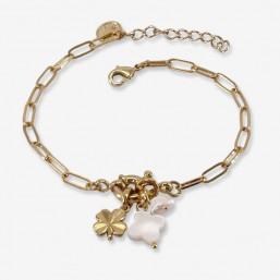 bracelet metal plaqué or et nacre en forme de trèfle par Chorange.