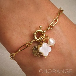 bracelet metal dore bijoux nacre Chorange