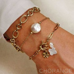 bracelet gold plated with keishi shell Chorange jewels