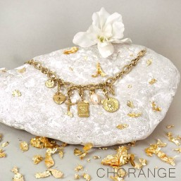 gold plated bracelet with charms made in France by Chorange parisian designer