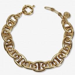 bracelet fantaisie classique maille marine plaque or fin par Chorange createur de bijoux