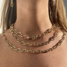 trois colliers maille marine classic et fantaisie plaque or fin ou argent par chorange createur de bijoux fantaisie