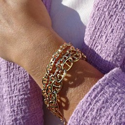 bracelet real fine gold plated 24 carats ou silver 925/1000