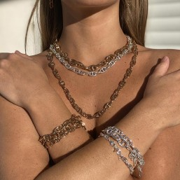 collier et bracelet  finition argent et or maille marine par Chorange bijoux