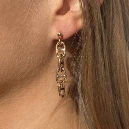 boucle d'oreille à clou maille marine or par Chorange créateur de bijoux fantaisie