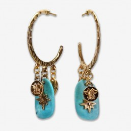 hoops earrings with turquoise gold plated