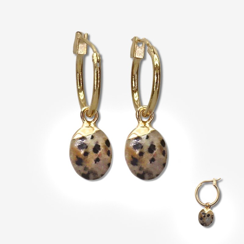 hoops earrings with a  pendant gemstone- Our jewels are nickel free Produce in south of France - Cannes city