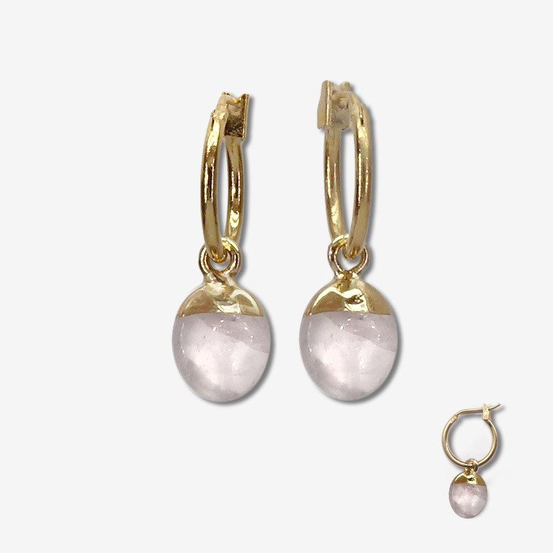 hoops earrings with a  pendant gemstone-Our jewels are nickel free Produce in south of France - Cannes city