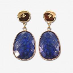 boucle d'oreille plaqué or avec son pendentif en pierre fine lapis lazuli