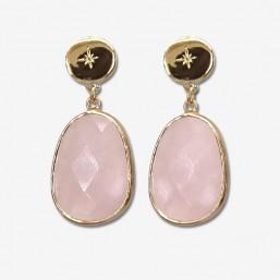 boucle d'oreille plaqué or avec son pendentif en pierre fine quartz rose