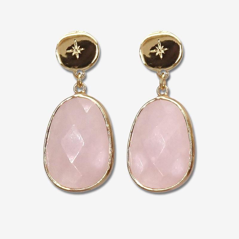 gemstone earring GOLD PLATED size 4cm lapis lazuli, labradorite, rose quartz, dalmatian jasper