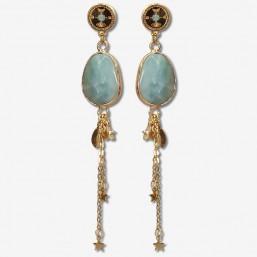 boucles d'oreilles pendantes en métal plaqué or fin et pierre naturelle amazonite