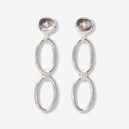silver plated chainhoop earrings 