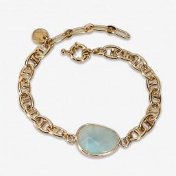 bracelet fantaisie femme chaine plaque or marine et pierre naturelle amazonite
