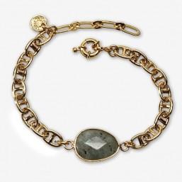 Chain bracelet size 15cm-gemstone : amazonite-lapis lazuli-pink jade-jasper-labradorite
