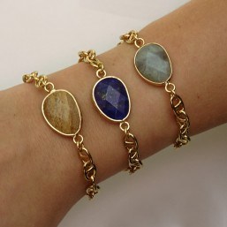bracelets fantaisie femme chaine plaque or marine et pierres naturelles