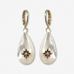 White mother of pearl earring with hoops gold plated in france