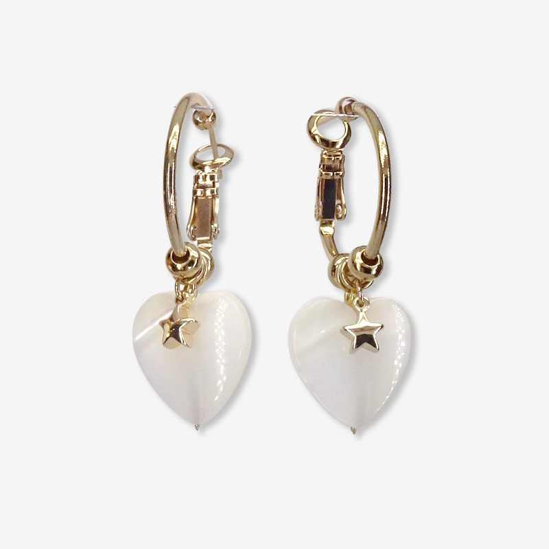 This earring is plated real gold 24 carats pendant with heart in Mother of pearl