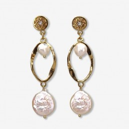 This earring size 5cm is plated real gold 24 carats or silver-Mother of pearl and keishi shell size 12mm