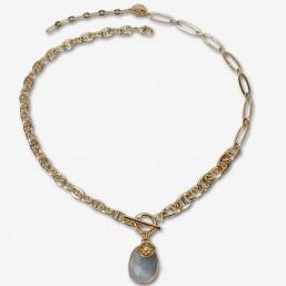 Collier en chaînes plaquées or et magnifique pendentif en pierre fine à facettes labradorite