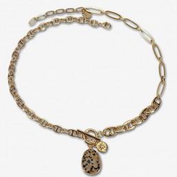 Collier en chaînes plaquées or et magnifique pendentif en pierre fine à facettes dalmatian jasper
