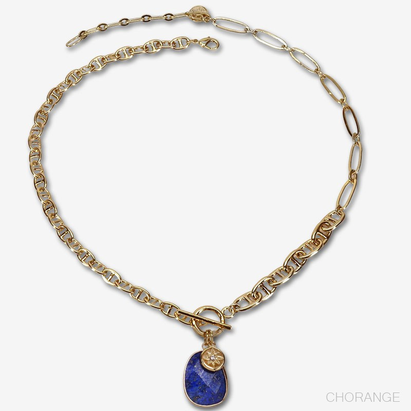 lapis lazuli gemstone necklace with gold plated chain made in France