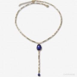 long collier motif en pierre fine et chaine métal plaqué or lapis lazuli