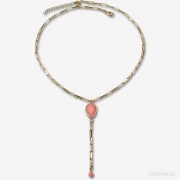 long collier motif en pierre fine et chaine métal plaqué or jade rose