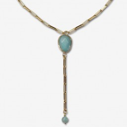 necklace gold plated with gemstone-lapis lazuli, amazonite, dalmatian jasper, pink jade, picture jasper