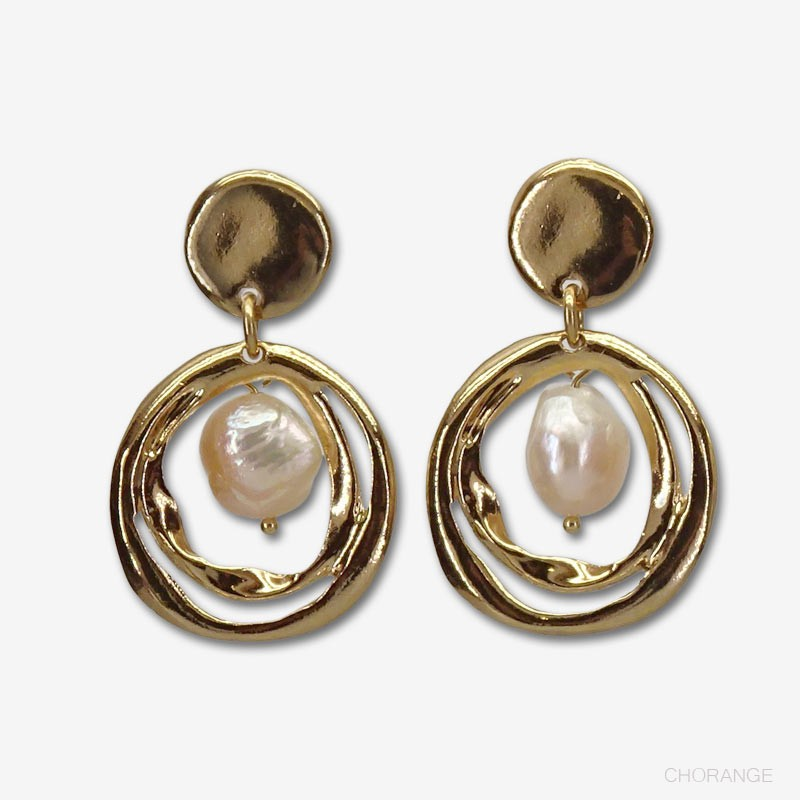 earring plated in France with fine gold 24 carats
