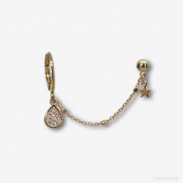 Boucle d'oreille createur bijou  à chaîne plaqué or fin 24 carats