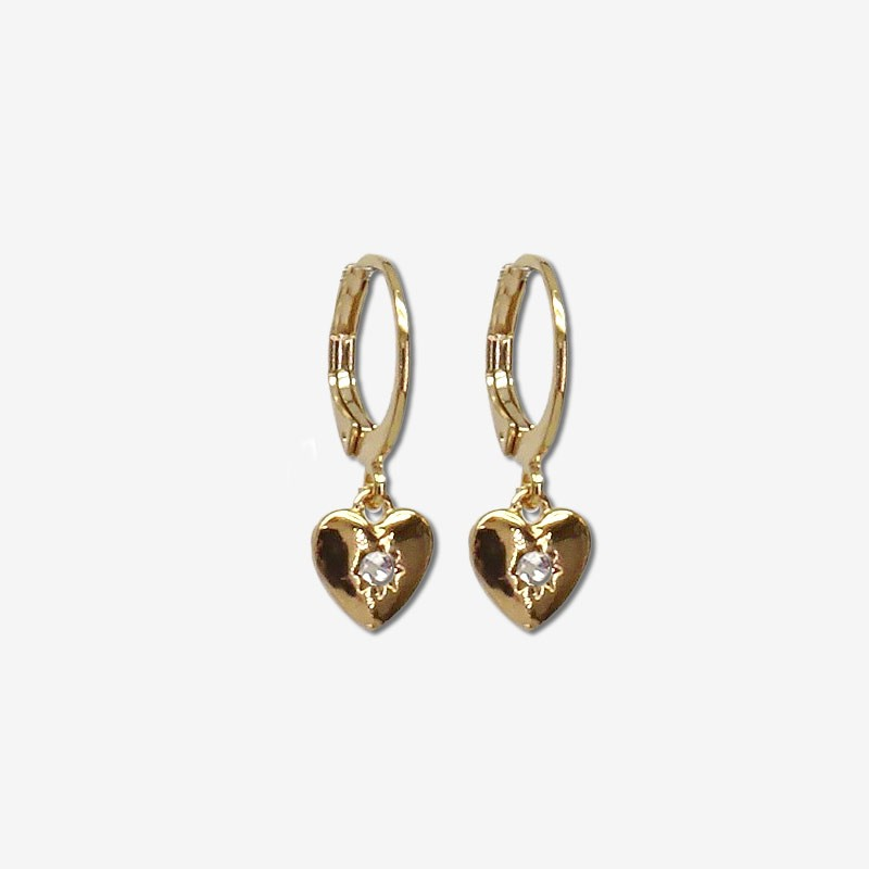 Earring heart size : 8mm This earring is plated real gold 24 carats-Our jewels are nickel free