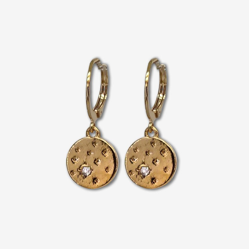 This earring is plated real gold 24 carats pendant with zstrass swarovski