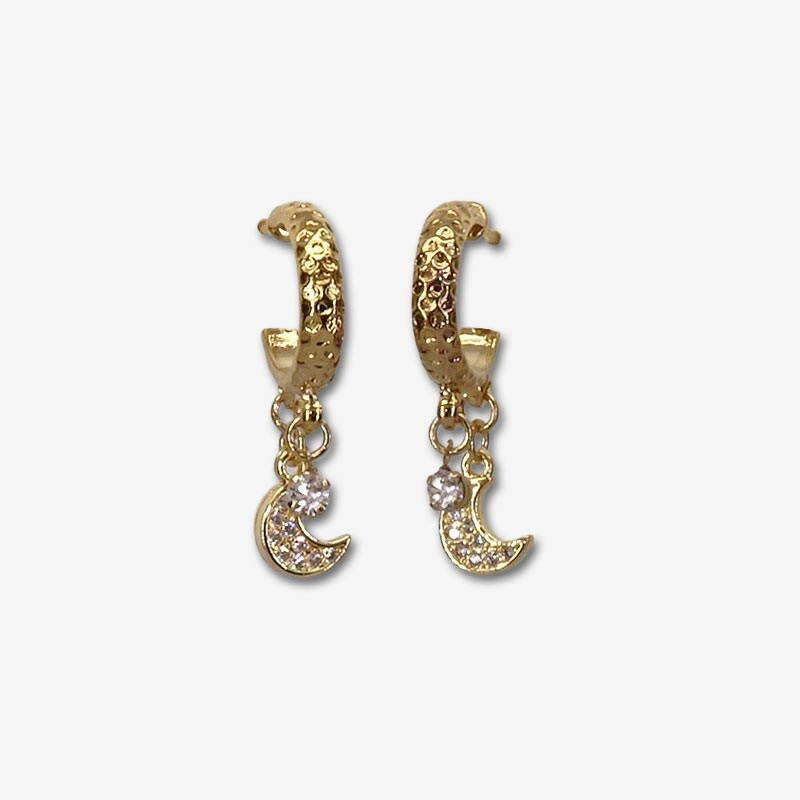 Small 24 carat gold plated hoop earrings with a moon pendant