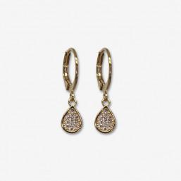 Petites boucles d'oreilles créoles fantaisies plaquées or fin 24 carats.
