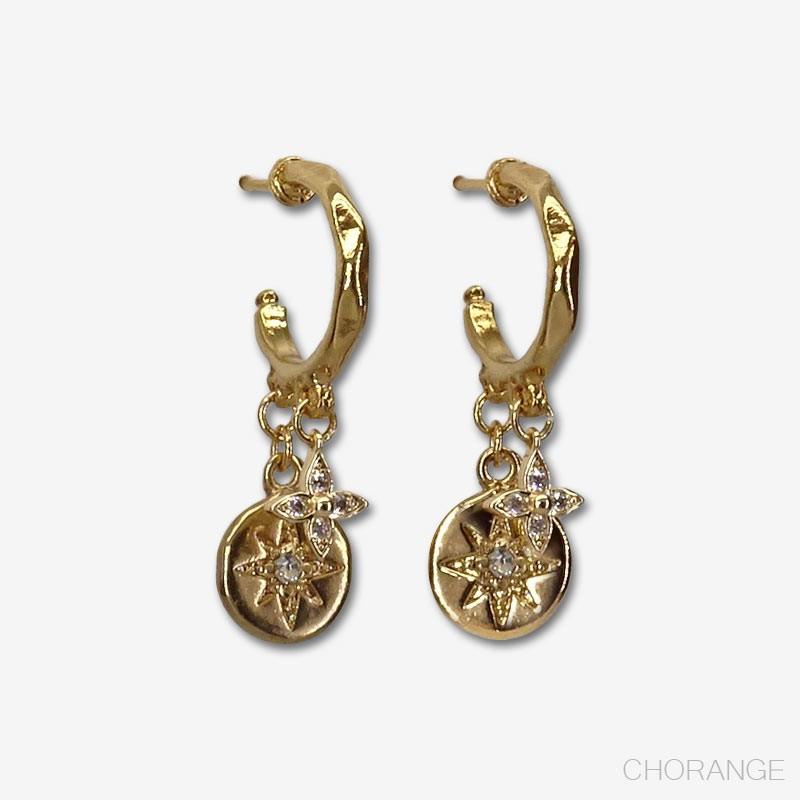 boucles d'oreilles créoles plaquées or fin 24 carats. Creole13mm plus les pampilles