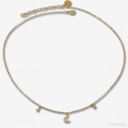 gold necklace with a moon plated in France with fine gold 24 carats
