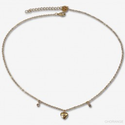Necklace with heart pendant-This jewellery is plated in France with fine gold 24 carats