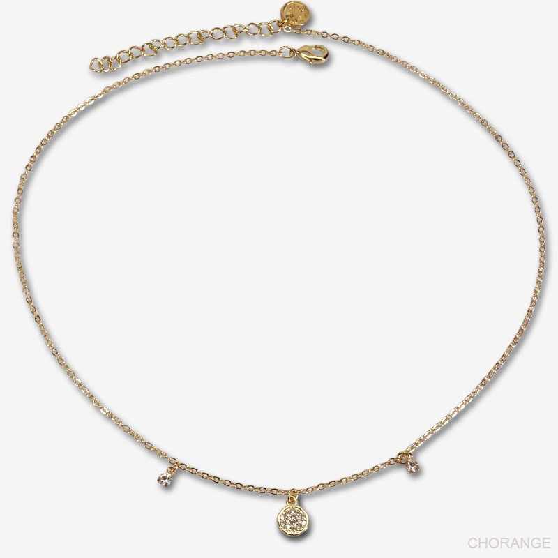 collier plaqué or avec pampille ronde de 6mm avec ses zircons et deux pampilles avec strass en crista