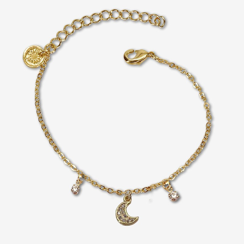 bracelet moon and métal pendants with zircon-This jewel is plated with fine gold 24 carats