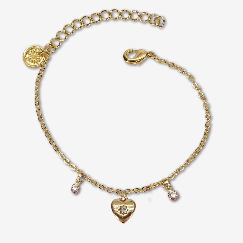 Chain bracelet with métal pendants  This jewel is plated with fine gold 24 carats