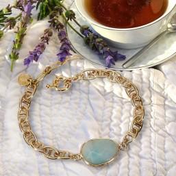 bracelet fantaisie amazonite chaine plaque or marine et pierre naturelle facette lapis lazuli