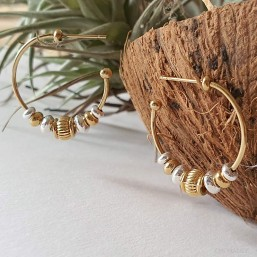 Hoop earring ring -this fashion jewellery is plated with fin gold 24 cts -made in France