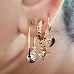 créole fantaisie bicolore avec son anneau plaque or