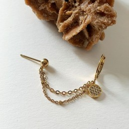gold plated chain earring made in francce